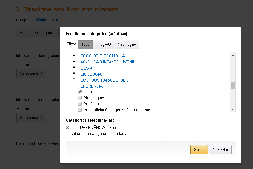 Categorias de ebooks Kindle