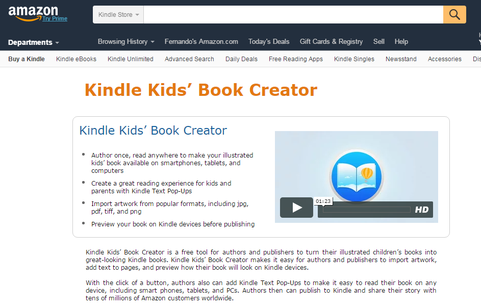 kindle kids book creator