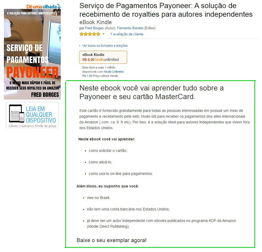 Descrição de ebooks na Amazon